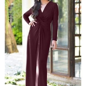Mulberry front knot longsleeve deep V gown